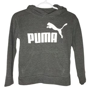 Puma Boys Small (8) Hooded Pullover Grey Hoodie Athleisure Active Sweater